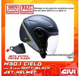 GIVI JET HELMET M30.1 CIELO S MATT BLACK + TINTED VISOR