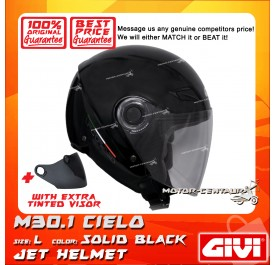 GIVI JET HELMET M30.1 CIELO L SOLID BLACK + TINTED VISOR