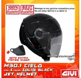 GIVI JET HELMET M30.1 CIELO S SOLID BLACK + TINTED VISOR