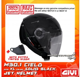 GIVI JET HELMET M30.1 CIELO XL SOLID BLACK + TINTED VISOR