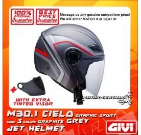GIVI JET HELMET M30.1 CIELO S GRAPHIC SPORT GRAPHITE GREY + TINTED VISOR