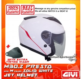 GIVI JET HELMET M30.2 PRESTO M SOLID WHITE + TINTED VISOR