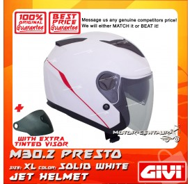 GIVI JET HELMET M30.2 PRESTO XL SOLID WHITE + TINTED VISOR