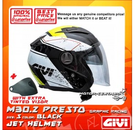 GIVI JET HELMET M30.2 PRESTO S GRAPHIC RACING BLACK + TINTED VISOR