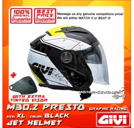 GIVI JET HELMET M30.2 PRESTO XL GRAPHIC RACING BLACK + TINTED VISOR
