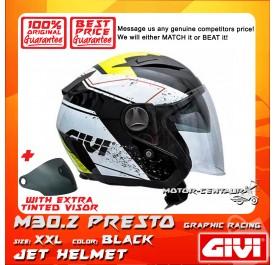 GIVI JET HELMET M30.2 PRESTO XXL GRAPHIC RACING BLACK + TINTED VISOR