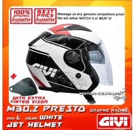 GIVI JET HELMET M30.2 PRESTO L GRAPHIC RACING WHITE + TINTED VISOR