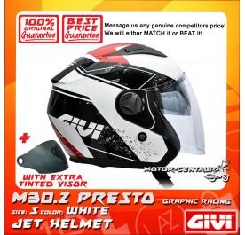 GIVI JET HELMET M30.2 PRESTO S GRAPHIC RACING WHITE + TINTED VISOR