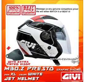 GIVI JET HELMET M30.2 PRESTO XL GRAPHIC RACING WHITE + TINTED VISOR