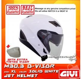 GIVI JET HELMET M30.3 D-VISOR XL SOLID WHITE + TINTED VISOR