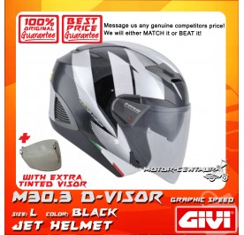 GIVI JET HELMET M30.3 D-VISOR L GRAPHIC SPEED BLACK + TINTED VISOR