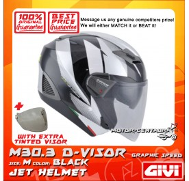GIVI JET HELMET M30.3 D-VISOR M GRAPHIC SPEED BLACK + TINTED VISOR