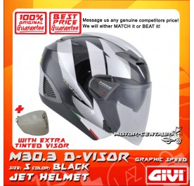 GIVI JET HELMET M30.3 D-VISOR S GRAPHIC SPEED BLACK + TINTED VISOR