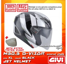 GIVI JET HELMET M30.3 D-VISOR XL GRAPHIC SPEED BLACK + TINTED VISOR