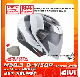GIVI JET HELMET M30.3 D-VISOR M GRAPHIC SPEED WHITE + TINTED VISOR