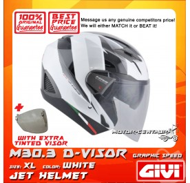 GIVI JET HELMET M30.3 D-VISOR XL GRAPHIC SPEED WHITE + TINTED VISOR