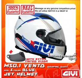 GIVI FULL FACE HELMET M50.1 VENTO S GRAPHIC DART BLUE + TINTED VISOR