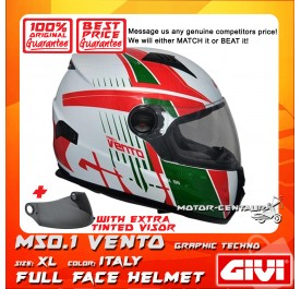 GIVI FULL FACE HELMET M50.1 VENTO XL GRAPHIC TECHNO ITALY + TINTED VISOR