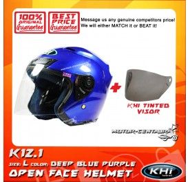 KHI HELMET K12.1 DEEP BLUE PURPLE L + TINTED VISOR