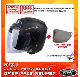 KHI HELMET K12.1 MATT BLACK L + TINTED VISOR