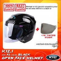 KHI HELMET K12.1 BLACK XL + TINTED VISOR