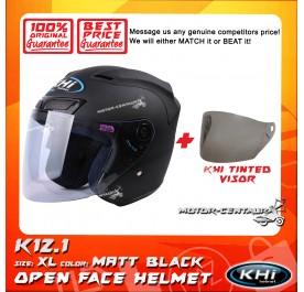 KHI HELMET K12.1 MATT BLACK XL + TINTED VISOR