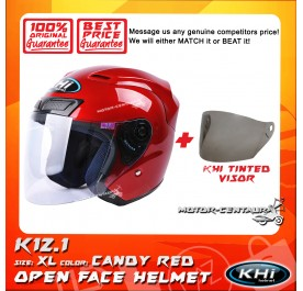 KHI HELMET K12.1 CANDY RED XL + TINTED VISOR