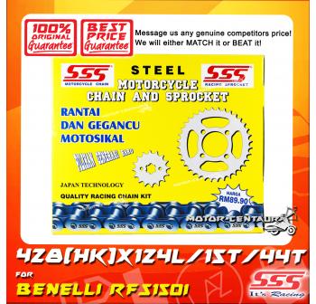 SSS DRIVE CHAIN KIT STEEL 428(HK)X124L/15/44T BENELLI RFS150I