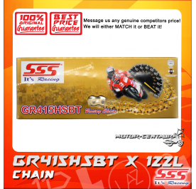 SSS RACING CHAIN GR415HSBT X 122L GOLD PLATED (INNER & OUTER LAYERS)