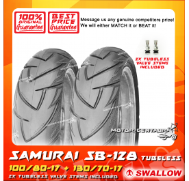 SWALLOW TUBELESS TYRE SB128 SAMURAI 100/80-17 + 130/70-17