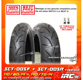 IRC TUBELESS TYRE SCT-005F 110/80-14 + SCT-005R 140/70-14
