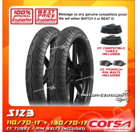 CORSA TUBELESS TYRE S123 110/70-17 + 130/70-17 + TUBES