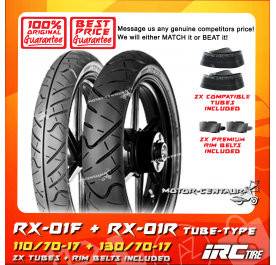 IRC TUBELESS TYRE RX-01F 110/70-17 + RX-01R 130/70-17 + TUBES