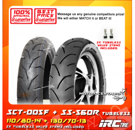 IRC TUBELESS TYRE SCT-005F 110/80-14 + SS-560R 130/70-13
