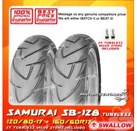 SWALLOW TUBELESS TYRE SB128 SAMURAI 120/80-17 + 160/60R17