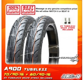 ARC-V TUBELESS TYRE A900 70/90-16 + 80/90-16
