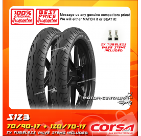 CORSA TUBELESS TYRE S123 70/90-17 + 120/70-17