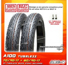 ARC-V TUBELESS TYRE A100 70/90-17 + 80/90-17