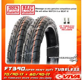 VIVA SUPER HEAVY DUTY TUBELESS TYRE FT390-SHD 70/90-17 + 80/90-17