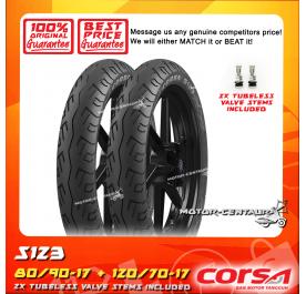 CORSA TUBELESS TYRE S123 80/90-17 + 120/70-17