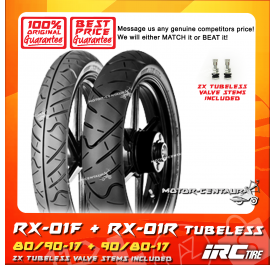 IRC TUBELESS TYRE RX-01F 80/90-17 + RX-01R 90/80-17