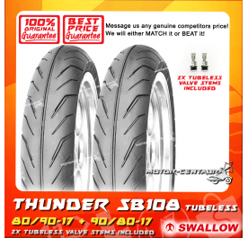 SWALLOW TUBELESS TYRE SB108 THUNDER 80/90-17 + 90/80-17