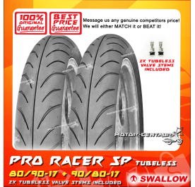 SWALLOW TUBELESS TYRE SB118 PRO RACER SP 80/90-17 + 90/80-17