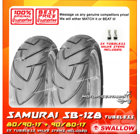 SWALLOW TUBELESS TYRE SB-128 SAMURAI 80/90-17 + 90/80-17