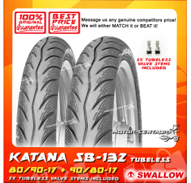 SWALLOW TUBELESS TYRE SB-132 KATANA 80/90-17 + 90/80-17