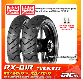 IRC TUBELESS TYRE RX-01R 90/80-17 + 120/70-17