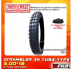 FKR SCRAMBLER TYRE STRONGHOLD SH 3.00-18 WITH FKR TUBE