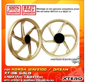 XTERO SPORT RIM XT-06 1.40X17(F) 1.60X17(R) WAVE100 GOLD