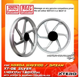 XTERO SPORT RIM XT-06 1.40X17(F) 1.60X17(R) WAVE100 SILVER