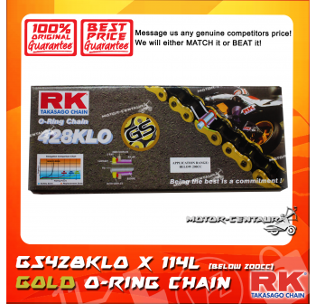 RK O-RING CHAIN GS428KLO X 114L GOLD PLATED (OUTER LAYER ONLY)